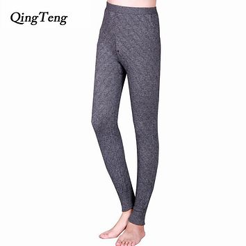 QingTeng More Thick Men Thermal Underwear Cashmere 56/3 Yards Merino Wool Knitted Long Johns Pants Gray Clothing Warm Winter