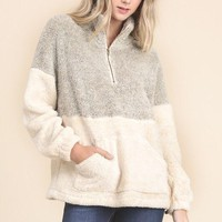 Two Toned Sherpa Pullover