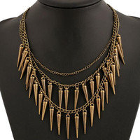 Copper Spike Charm Multirow Necklace