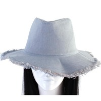 blue jean denim fedora floppy hat cap