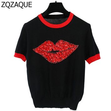 NEW Women's European and American Brand Designer Hand Made Diamonds Leater Flowers T-shirts Girls Lip Pattern Knit Tops SY1130