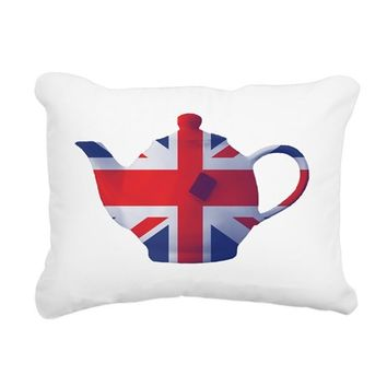 UNION JACK FLAG TEAPOT A RECTANGULAR CANVAS PILLOW