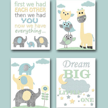 Girl Baby Boy Nursery Quotes Kids Wall Art Kids Art for Children Baby Boy Room Decor Elephant Nursery Print Giraffe Nursery Decor set of 4 /