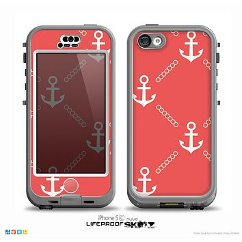 The Coral & White Vintage Solid Color Anchor Linked Skin for the iPhone 5c nüüd LifeProof Case