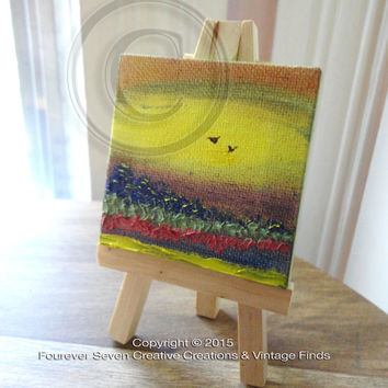 Mini Oil Painting Abstract Painting Original Oil Painting Small Painting Miniature Art Landscape Painting Fine Art Cute Painting Mini Easel