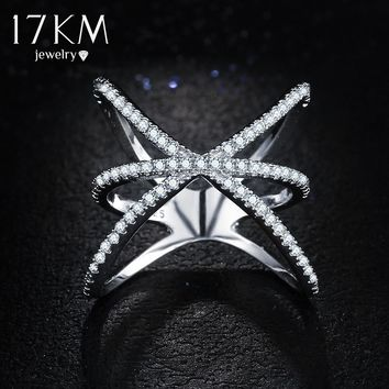 17KM Fashion Wedding Silver Color Crystal Cross Rings for Women Double Letter X Shape Ring Zirconia Engagement Jewelry Anel