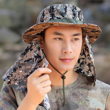 Fashion Men Bucket Hats UV Protection Face Neck Outdoor Cap Fishing Hiking Camouflage Sun Cap Wide Brim Size Adjustable Flap Hat