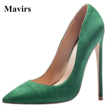 MAVIRS 2017 Spring 12 CM Extreme High Heels Pointed Toe Stiletto Women Pumps Plus Size 34-45 Sapato Feminino Shoes
