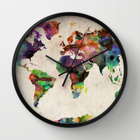 World Map Urban Watercolor Wall Clock by ArtPause