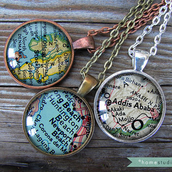 Custom Map Location : Glass Dome Necklace by HomeStudio. 24 inch chain included. personalized necklace jewelry. Key Chain Key Ring keychain