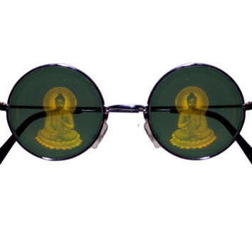 FREE SHIPPING, Buddha hologram holographic round hippie lennon 90s grunge deadstock vintage retro sunglasses glasses + free tattoo choker