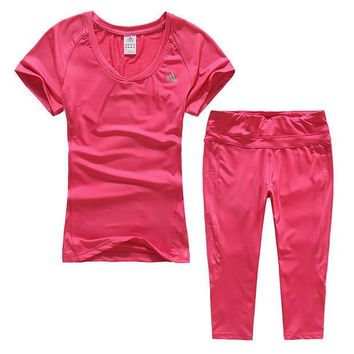 Adidas Woman Gym Sport Yoga Embroidery Top Cami Shorts Set Two-Piece Sportswear-5
