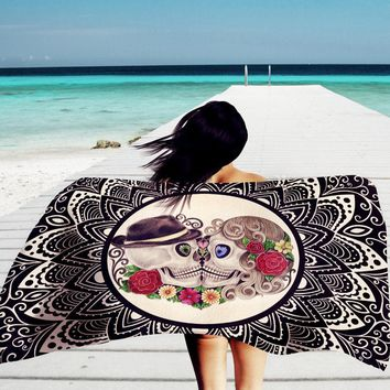 2017 US Stock Skeleton Hippie Tapestry Wall Hanging Indian Bohemia 100cm x 150cm Tapestries Decor Skeleton Printed Tapestry