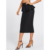 Slit Back Peplum Skirt