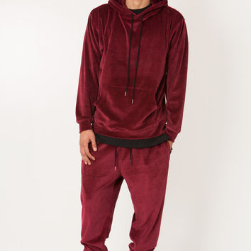 BURGUNDY VELOUR VELVET SWEAT SUIT