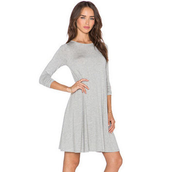 Autumn Cotton Knit Slim Women's Fashion One Piece Dress [6339066753]