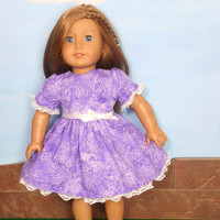 18 Inch Doll Clothes, Purple Doll Dress, Violet Doll Dress with Ribbon and Lace Trim, Summer Doll Clothes, fits American Girl Dolls