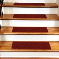 """Carpet Stair Treads 23"""" x 8""""  - Red - Set of 13"""