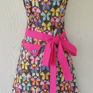 Butterfly Full Apron / Vintage Style / Pink / Women's Apron