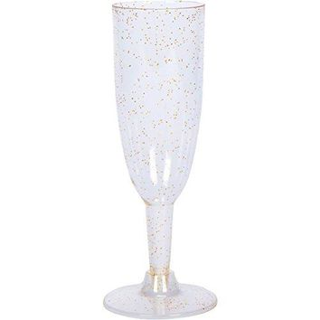 Urban Eyes Party Supplies Elegant Plastic Champagne Flutes By Set Of 36 Multipurpose Clear Toasting Glasses with Gold Glitter ndash Reusable amp Disposable Stemmed Classicware With Twist Base