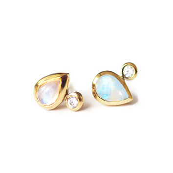Rainbow Moonstone and Topaz Droplet Studs