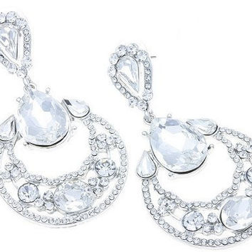 Large Eye Catching Crystal Bridal Wedding Earrings W Lots of Style! On Silver Tone