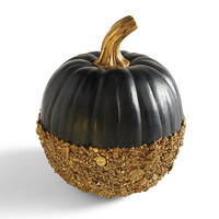 Black and Gold Glitter Pumpkin
