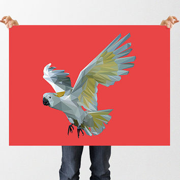 Low Poly Cockatoo Print, Cockatoo Wall Art, Instant Download, Printable Art, Jungle Nursery, Art for Kids, Bird Print, Modern Nursery Art