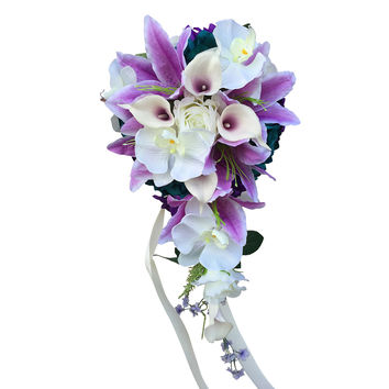 Cascade Bouquet and boutonniere set-Purple,Lavender,Teal roses,calla lily,orchid.