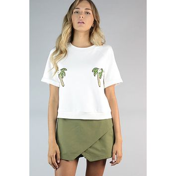 Palm Leaf Shorts with Wrap Skirt