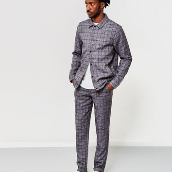 The Idle Man Smart Check Coach Jacket Navy