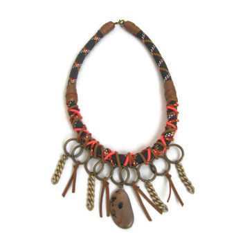 Neo Tribal Rope Collar Necklace in Black and Bronze - Statement Jewelry
