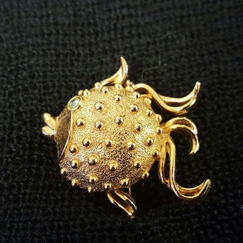 Vintage Adorable Golden Puffer Fish Brooch Pin Locket and Solid Perfume Compact from the Fuller Brush Company