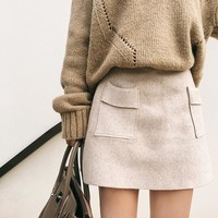 Pure Color Knit Pockets A-Line Mini Skirt
