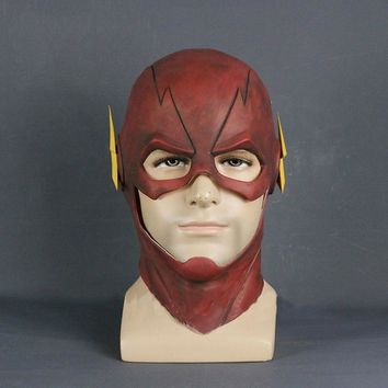The Flash Mask DC Barry Allen Mask Cosplay Costume Prop Halloween Red Full Head Latex Party Masks Adult