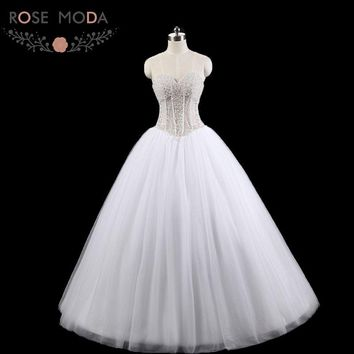 Rose Moda Luxury Pearl Wedding Ball Gown Princess Wedding Dress with Pearls Lace Up Back 2018