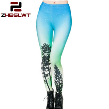 ZHBSLWT Hot 2017 Sale New Arrival 3D Printed Fashion Women Leggings Space Galaxy Leggins