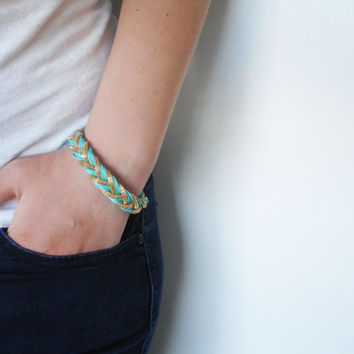 Aqua Braided Bracelet With Golden Accents - Free Shipping