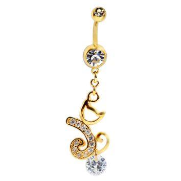 Lovely cat zircon belly button ring antiallergic Navel Belly Ring-0428-Gifts box