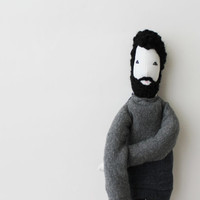 Cloth man doll Fulano, ooak bearded guy doll, upcycled soft sculpture, hipster soft doll, cool decor stuffed doll, unqiue boyfriend gift