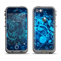 The Glowing Blue Music Notes Apple iPhone 5c LifeProof Fre Case Skin Set