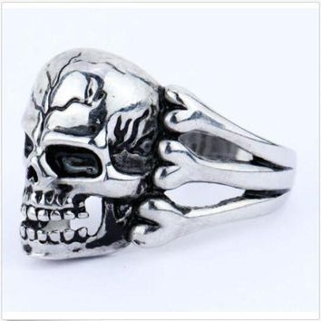 ac PEAPO2Q 2015 Man's Ring Gothic Men's Skull Flower Biker Zinc alloy Ring Man fashion rings Free shipping