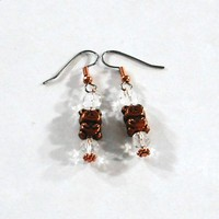Copper Teddy Bear Earrings