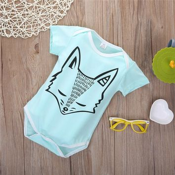 2016 New Summer Newborn Baby Boys Girls Clothes Fox Printing Organic Short Sleeve Bodysuit Jumpsuit Outfits 0-24M
