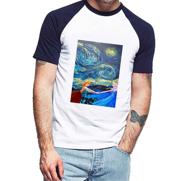 Van Gogh meets Elsa Anna Frozen 544fa606-ebe1-4cd6-8dd8-c342dfc8fe40 For Man Raglan and Woman Raglan XS / S / M / L / XL / 2XL *NP*