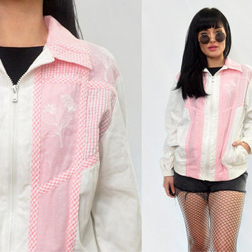 vintage 90s pastel pink jacket plaid floral embroidered coat CUTE small