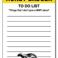Honey Badger Funny Notepad Office Memo Pad Gag Gift Yellow and Black