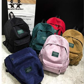 Day-First™ wenjie brother new arrival Autumn and winter corduroy backpack female college backpack bag student backpack women bac