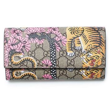 ONETOW Gucci Bengal Pink Mixed Tiger Fabric leather Flap Snap Bag Wallet New