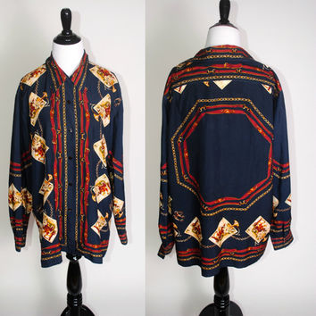 c92dd039c2a644 Vintage 1990s SILK Navy red gold EQUESTRIAN Horse print Horsebit chain print  long sleeve button down